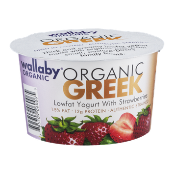 Wallaby Organic Greek Lowfat Yogurt With Strawberries