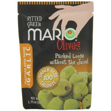 Mario Camacho Green Pitted Olives Seasoned with Garlic and Thyme, 1.75-Ounce Packages (Pack of 10)