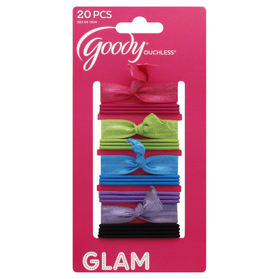 Goody Products Inc. Ouchless Girls Mixed Mini Ribbon Elastics, 20 pcs