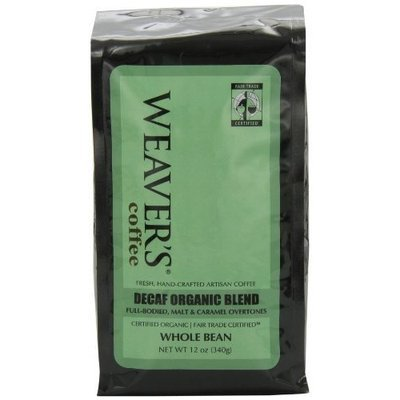 Weaver's Coffee Tea Weaver's Coffee and Tea, Decaf Organic Blend Whole Bean Coffee, 12-Ounce Bags (Pack of 2)