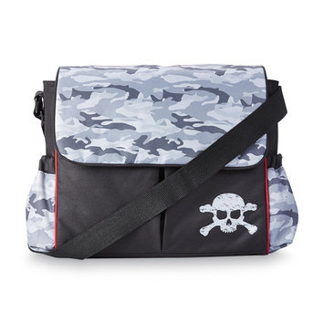 Tender Kisses Fashion Messenger Diaper Bag Camo/Skull - Rose Art