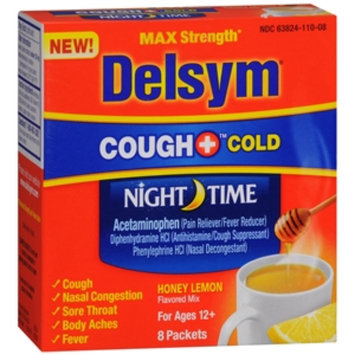 Delsym Nighttime Hot Drink Cough + Cold Sachets, Honey Lemon, 8 ea