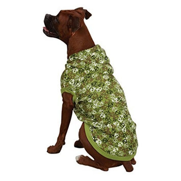 Casual Canine Polyester/Cotton Bone Heads Waffle Dog Hoodie, Small, 12-Inch, Green