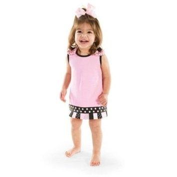 Mud Pie Baby Girls Princess Pink Ribbon Tab Dress (0-6 Months)