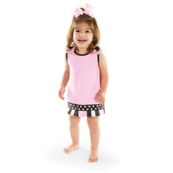 Mud Pie Baby Girls Princess Pink Ribbon Tab Dress (0-6 Months)