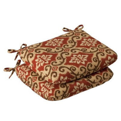 Pillow Perfect Outdoor 2-Piece Chair Cushion Set - Tan/Orange Geometric