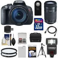 Canon EOS Rebel T5i Digital SLR Camera & EF-S 18-135mm & 55-250mm IS STM Lens with 32GB Card + Battery + Case + Flash + Filters + Tripod Kit