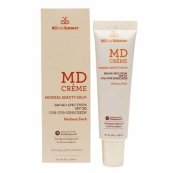 MDSolarSciences MD Creme Mineral Beauty Balm Broad Spectrum Sunscreen, SPF 50, Medium/Dark, 1.23 oz