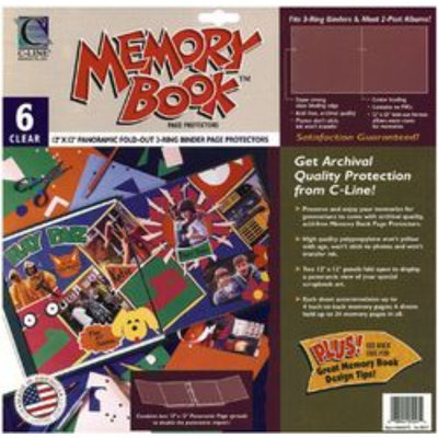 C-line C-Line Memory Book Panoramic Fold-Out Page Protectors, 12