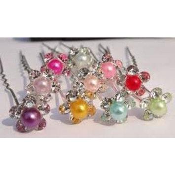 BRIDAL Crystal Small Pearl Hair Pins, Wedding Party Hair Accessories, Bride Bridesmaid Hair Clips 5 PCS DARK PURPLE