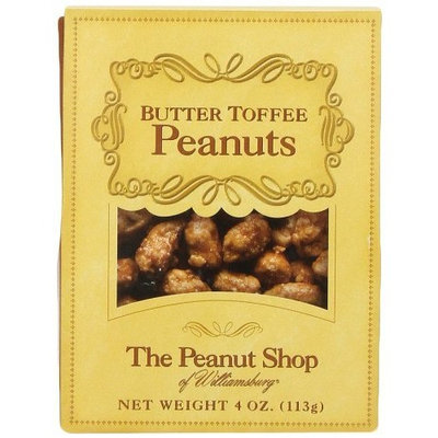 The Peanut Shop of Williamsburg Butter Toffee Peanuts, 4-Ounce Boxes (Pack of 12)