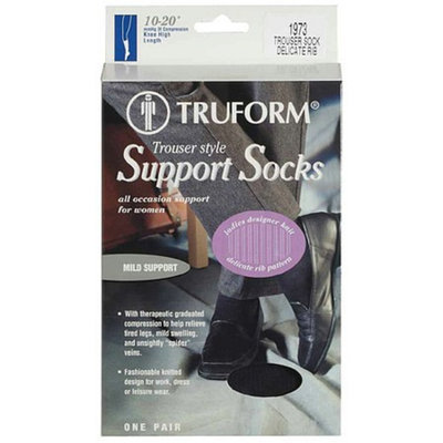 Truform Women's Trouser Style Mild (10-20mm) Designer Knit Pattern Support Socks XL