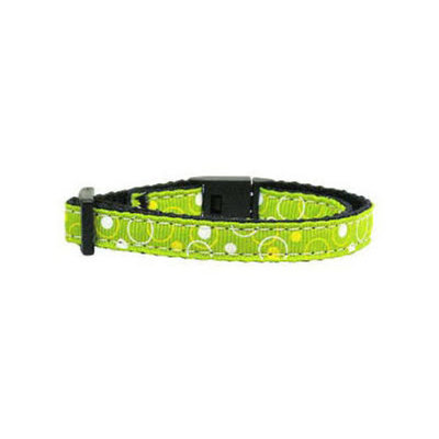 Mirage Retro Nylon Ribbon Collar Lime Green Cat Safety