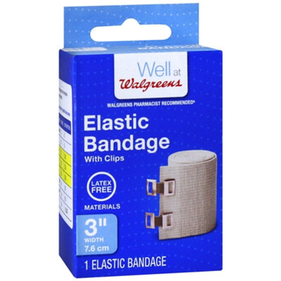 Walgreens Elastic Bandage With Clips, 3 inch, 1 ea