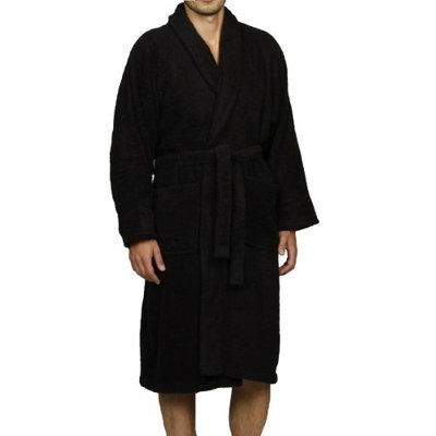 Blue Nile Mills Unisex 100% Egyptian Cotton Bath Robe Extra-Large, Black
