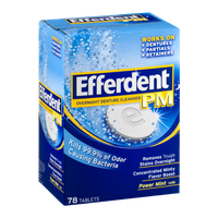 Efferdent PM Overnight Denture Cleanser Tablets Power Mint Flavor - 78 CT