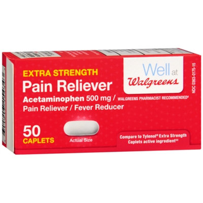 Walgreens Pain Reliever Extra Strength Caplets, 50 ea