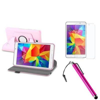 Insten INSTEN Pink Leather Stand Case+AG Protector/Stylus For Samsung Galaxy Tab 4 7.0 7