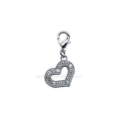 Mirage Lobster Claw Dog Collar Heart Charm Clear
