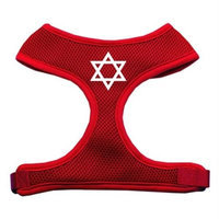 Mirage Pet Products 7026 LGRD Star of David Screen Print Soft Mesh Harness Red Large