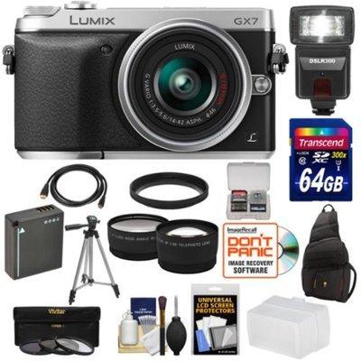 Panasonic Lumix DMC-GX7 Digital Camera with 14-42mm II Lens with 64GB Card + Battery + Sling Case + Tripod + 3 Filters + Tripod + Flash/Video Light + Tele/Wide Lens Kit