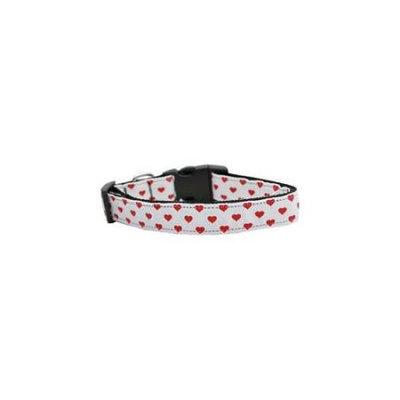 Ahi White and Red Dotty Hearts Nylon Dog Collars Medium