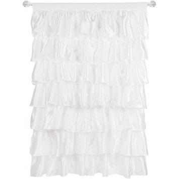 Generic Tadpoles White Ruffled Satin Curtain Panel