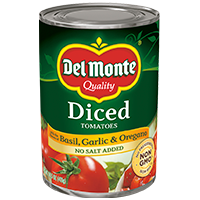 Del Monte® Diced Tomatoes with Basil, Garlic & Oregano No Salt Added