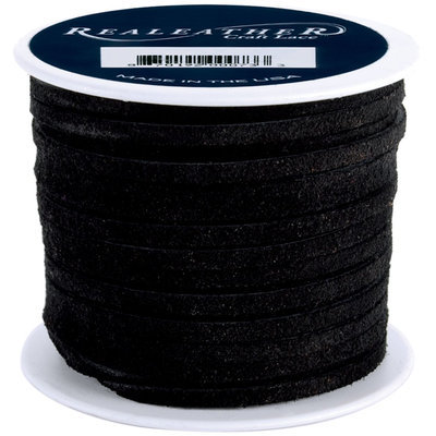 Silver Creek 154197 Suede Lace .13 in. 25 Yard Spool-Black