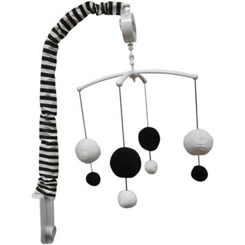 Bacati Dots/Pin Stripes Musical Mobile, Black/White