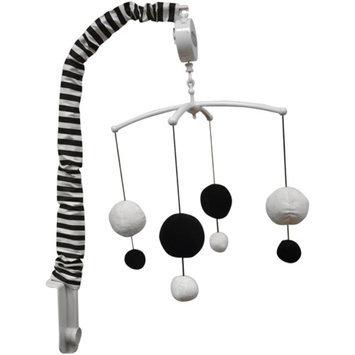 Bacati Dots/Pin Stripes Musical Mobile, Black/White