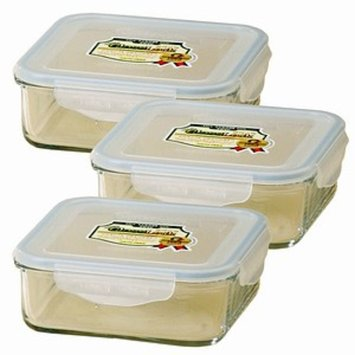 Kinetic Go Green GlassLock 30 Ounce Square Storage Container 3 Pack