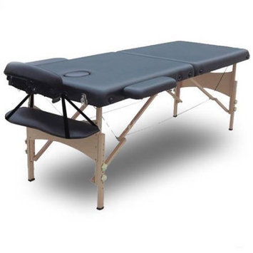 Modern Home Serenity Deluxe Portable Folding Massage Table w/5 Bonus Items - Charcoal Black