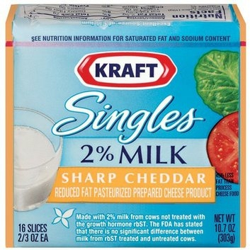Kraft Singles 2% Milk Sharp Cheddar Cheese Slices 10.7 oz