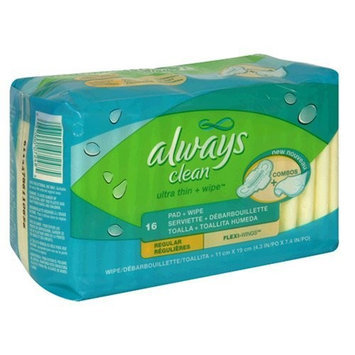 Always Clean Ultra Thin Pads Regular With Wings Unscented 16-Count
