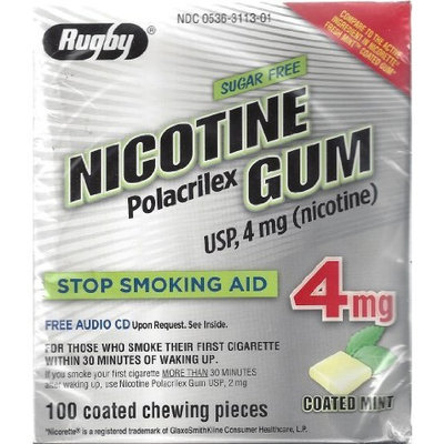 Rugby Laboratories Rugby Sugar Free Nicotine Polacrilex Gum, 100 Count - 4 MG - COATED MINT Flavor - Stop Smoking Aid