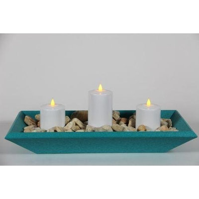 Delighted Home DH-3PPTTW Turquoise 3 Pillar Polly Trough with 1 6 in. and 2 4 in. White Pillars and Multi Colored Rocks