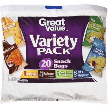 Wal-mart Stores, Inc. Great Value Potato Chips Variety Pack Snack Bags, 1 oz, 20 count