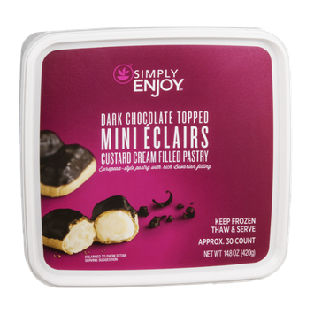 Ahold Simply Enjoy Creme Puffs Custard Cream Filled Pastry Dark Chocolate Dipped - 30 CT