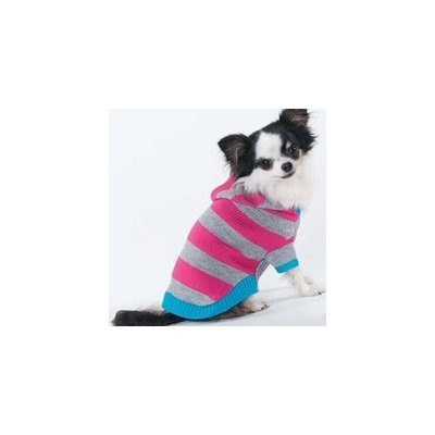 Fashion Pet Lookin Good Collegiate Striped Hoodie Sweater for Dogs, X-Small, Pink