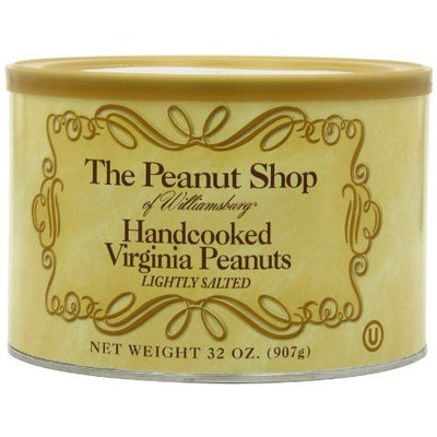 The Peanut Shop of Williamsburg Handcooked Lightly Salted Virginia Peanuts, 32-Ounce Tins (Pack of 2)