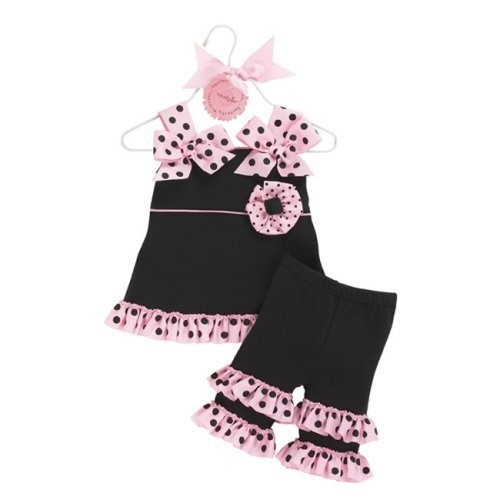 Mud Pie Baby Girls Perfectly Princess Tunic and Ruffle Capri Outfit- Clothes (12-18 Months)