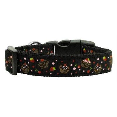 Mirage Pet Products 125019 LGBK Cupcakes Nylon Ribbon Collar Black Large