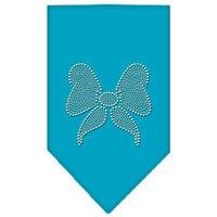 Mirage Pet Products 6715 LGTQ Bow Rhinestone Bandana Turquoise Large