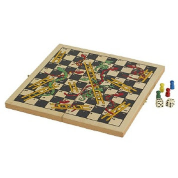 CHH Folding Wooden Snakes & Ladders Game, 1 ea