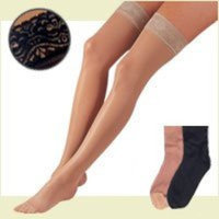 Fla Orthopedics Activa Thigh High Compression Hosiery 15-20mm Hg Lace Top - H2264 Black D - H2264