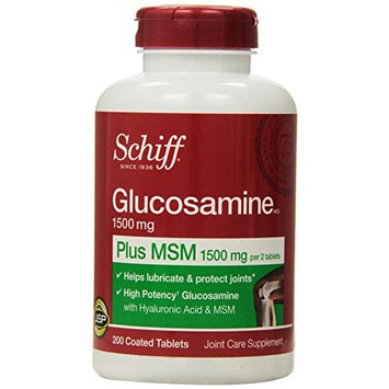 Schiff Glucosamine 1,500 mg plus MSM 1,500 mg, 200 Coated Tablets Each (Pack of 2)