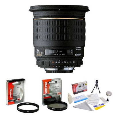 Sigma Super Wide Angle 20mm f/1.8 EX Aspherical DG DF RF AF Lens for Canon + Opteka UV Filter + Opteka CPL Filter + Opteka 5 Piece Cleaning Kit