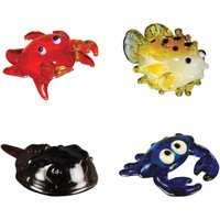 BrainStorm Looking Glass Miniature Glass Figurines, 4-Pack, Louie Crab/Tuffer Puffer Fish/Stu Horseshoe Crab/True Blue Crab