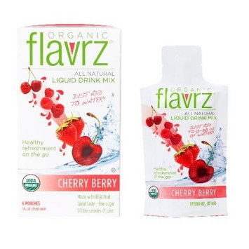 Flavrz Organic Drink Mix Concentrate, Cherry Berry, 6-Count Single Serve Foil Packets (Pack of 6)
